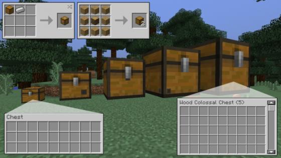 Colossal Chests Minecraft - Différentes tailles de coffres