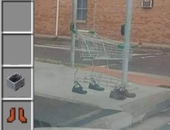 meme minecraft chariot chaussure