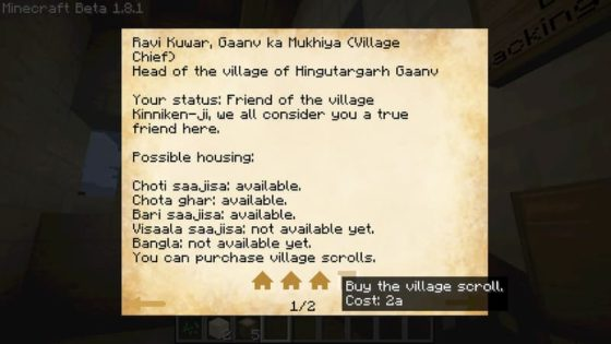 millenaire mod minecraft ecran chef village