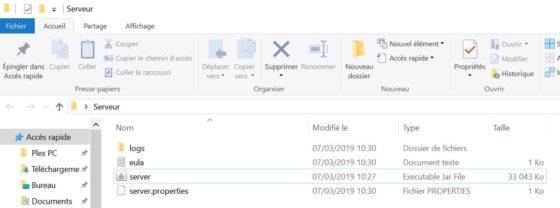 fichier serveur minecraft ouvert