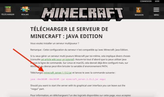 télécharger serveur minecraft site officiel