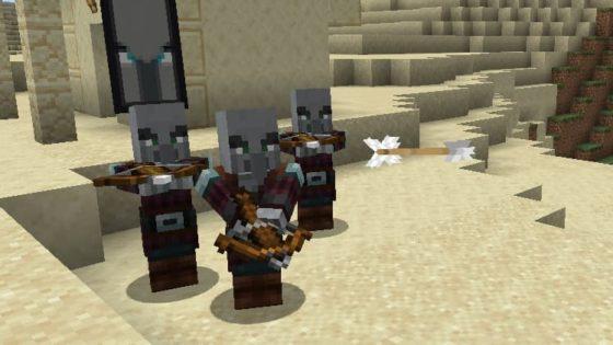 attaque flèches arbalete pillard minecraft