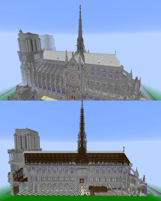 construction cathédrale notre dame paris minecraft