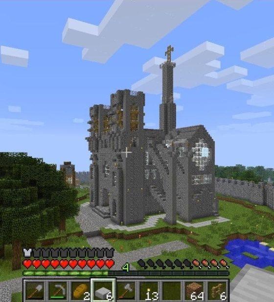build simple cathédrale notre dame paris minecraft