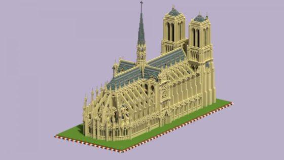 schematic cathédrale notre dame paris minecraft arrière