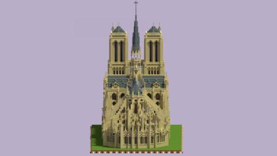 schematic cathédrale notre dame paris minecraft vue