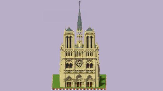 schematic cathédrale notre dame paris minecraft face