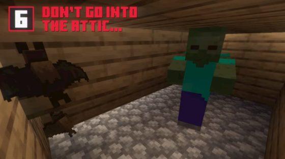 des monstres dans les greniers dans minecraft 1.14