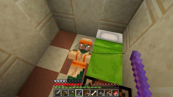 faire sortir villageois d'un lit avec canne à pêche