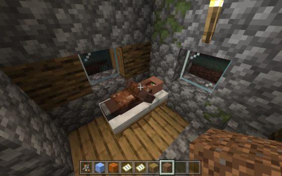un villageois dormant dans le lit d'un joueur en 1.14