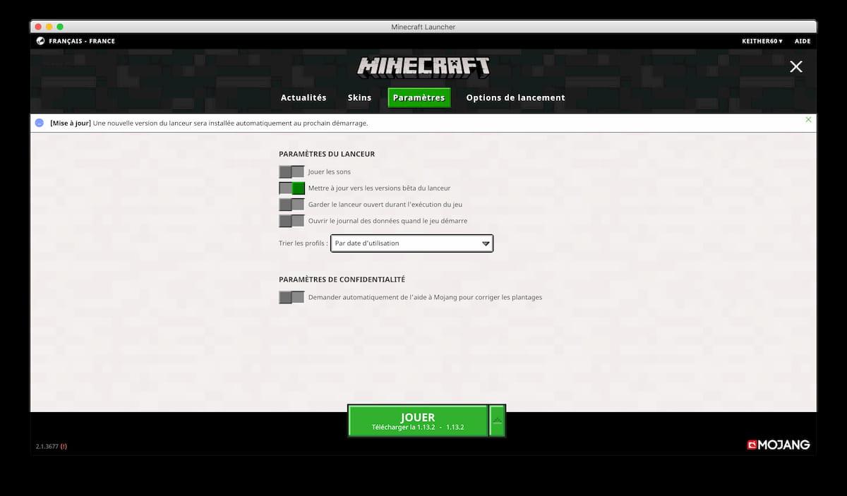 ancien launcher minecraft paramètres