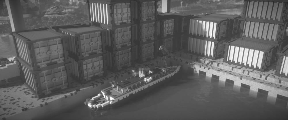 Continuum Shaderspack Minecraft : Bateau en noir et blanc