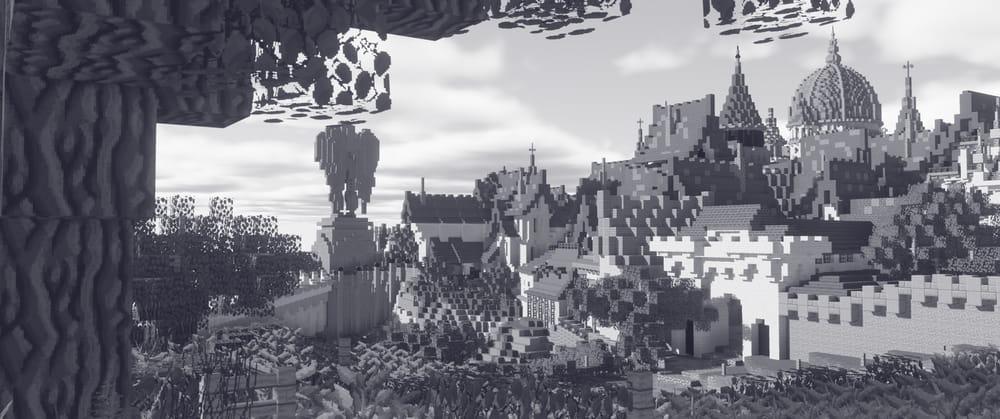 Continuum Shaderspack Minecraft : Chateau en noir et blanc