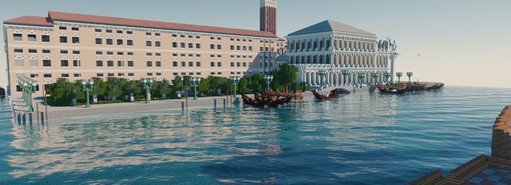 Continuum Shaderspack Minecraft : Ville en bord de l'eau
