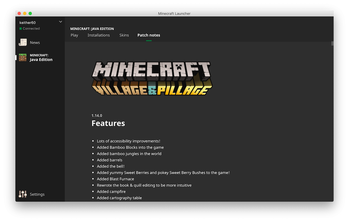 nouveau launcher minecraft patch notes