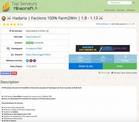 fiche serveur minecraft.top-serveurs.net