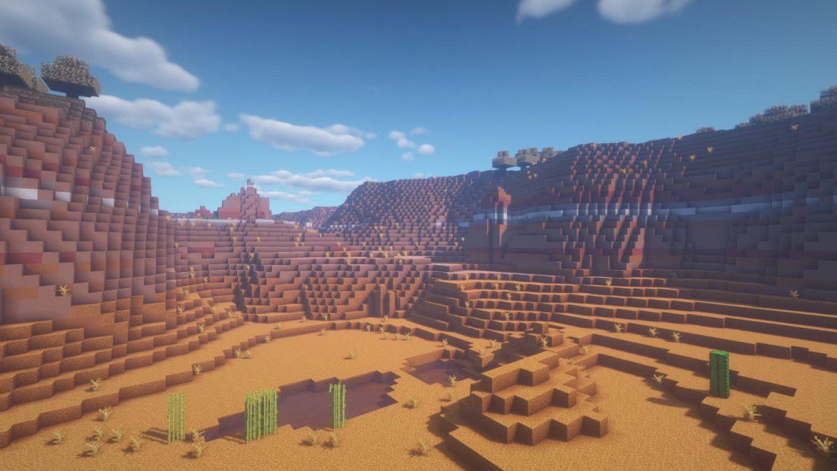 Rendu du BSL Shaders dans un désert Minecraft