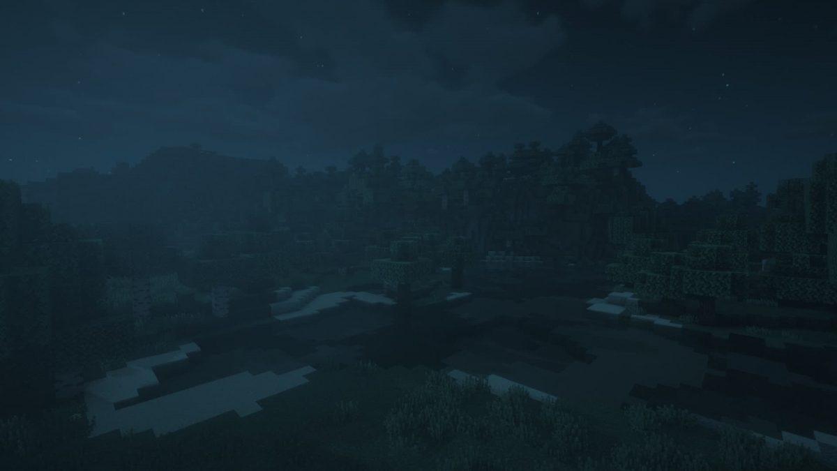 Rendu du BSL Shaders lors d'une nuit dans Minecraft