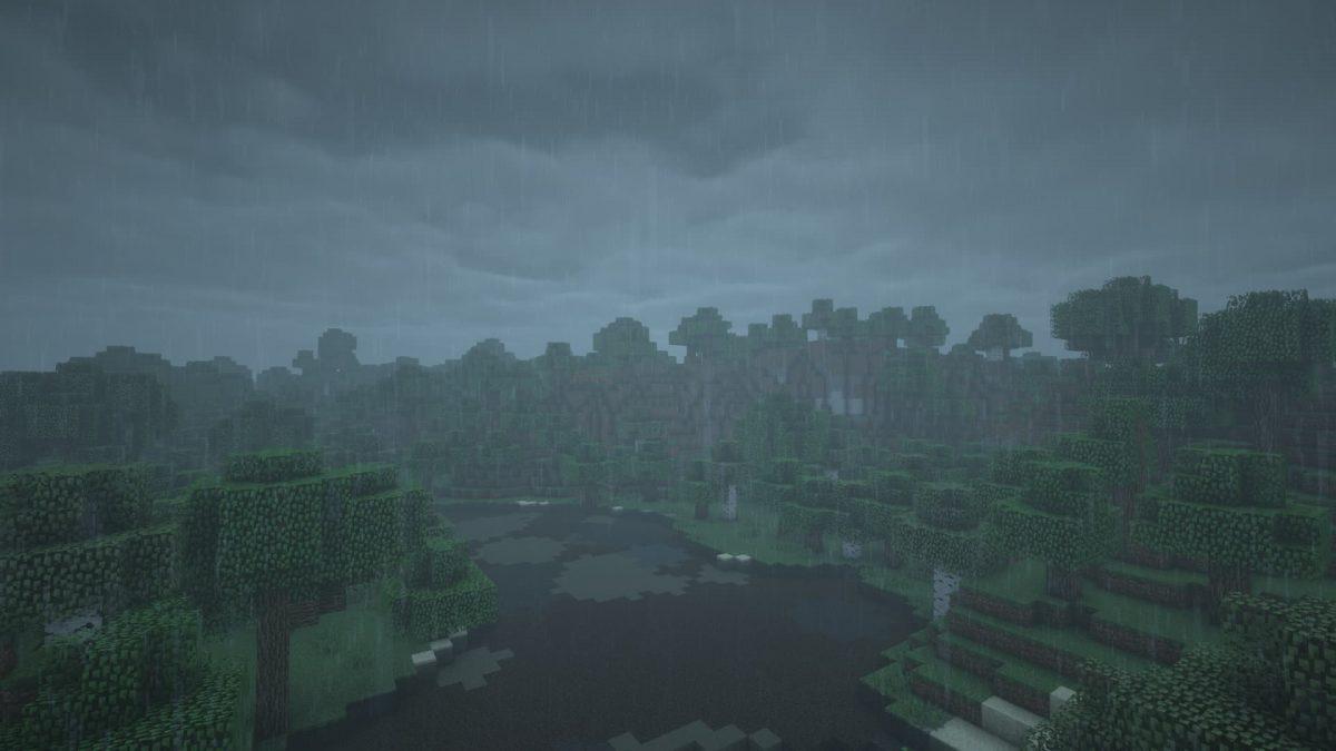Rendu du BSL Shaders sous la pluie dans Minecraft