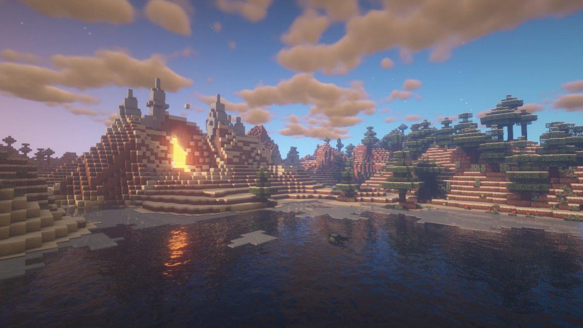 Rendu du BSL Shaders devant une rivière et une coulée de lave Minecraft