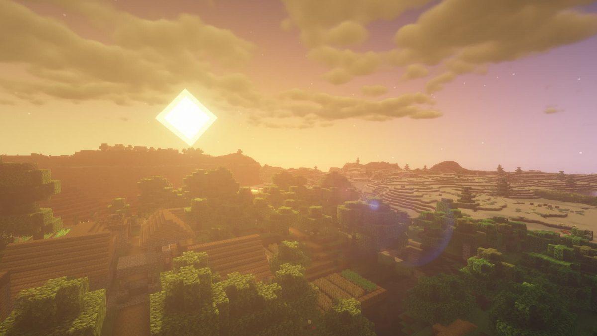 Rendu du BSL Shaders lors d'un couché / levé de soleil dans Minecraft