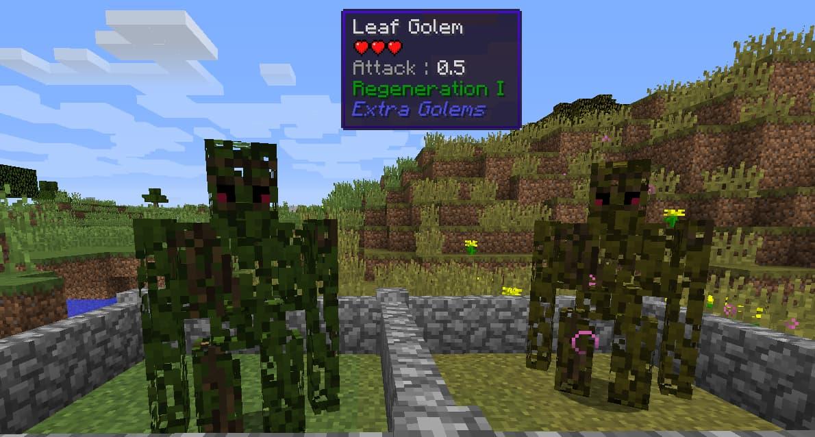 Mod Minecraft Extra Golems : Golem de feuilles