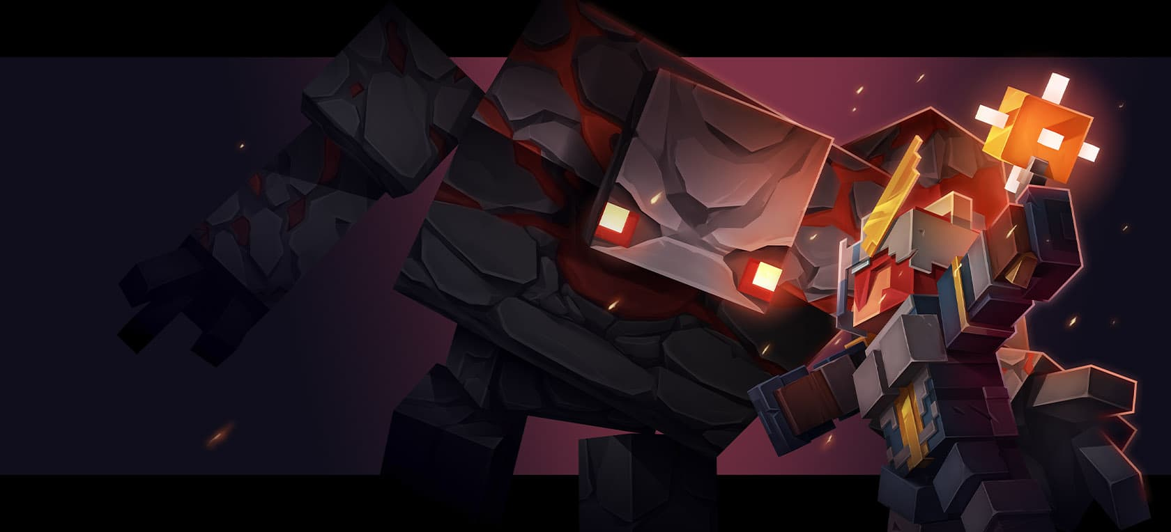 Un combat dans Minecraft Dungeons