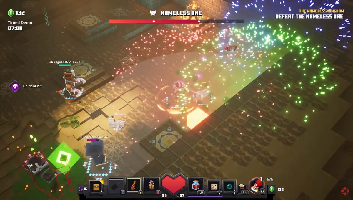 Vidéo de gameplay de Minecraft Dungeons : Combat contre un Boss