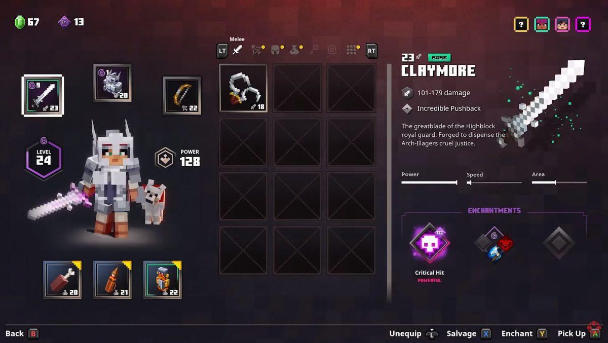 Vidéo de gameplay de Minecraft Dungeons : Inventaire