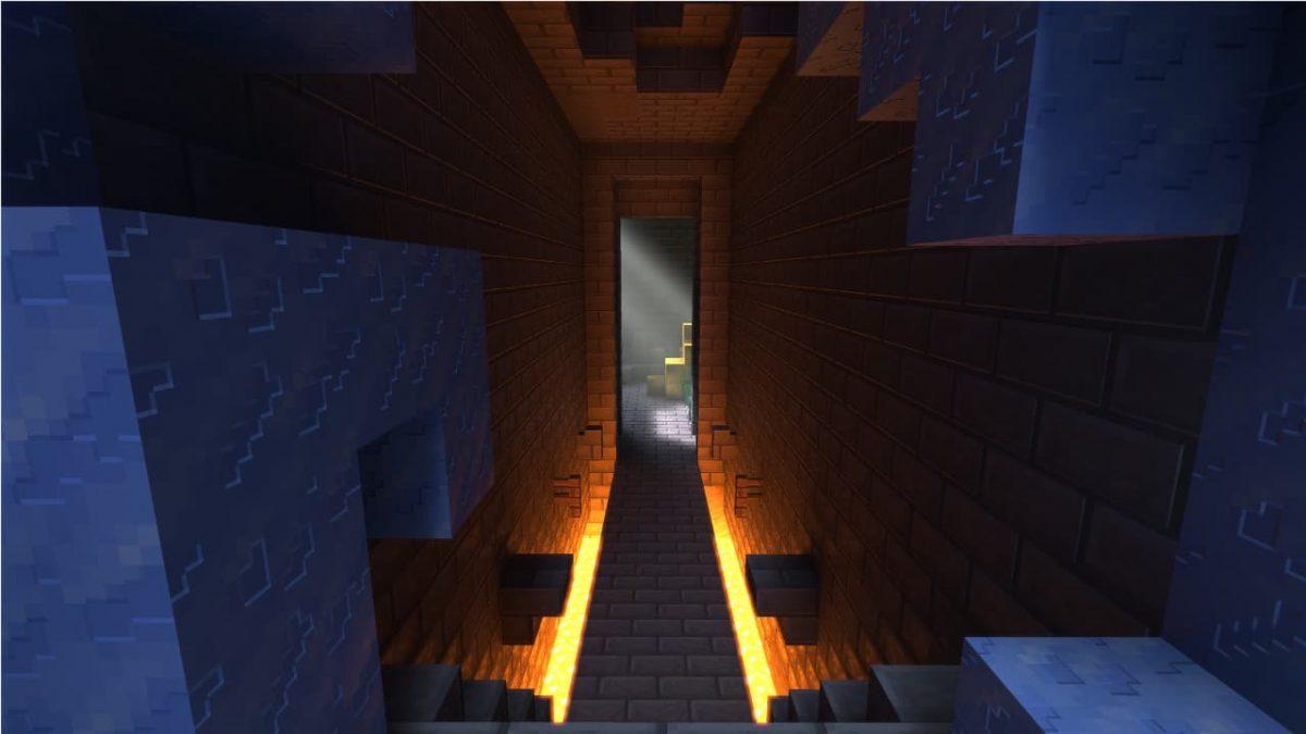 Rendu d'un couloir avec le Nvidia RTX ray tracing activé dans Minecraft