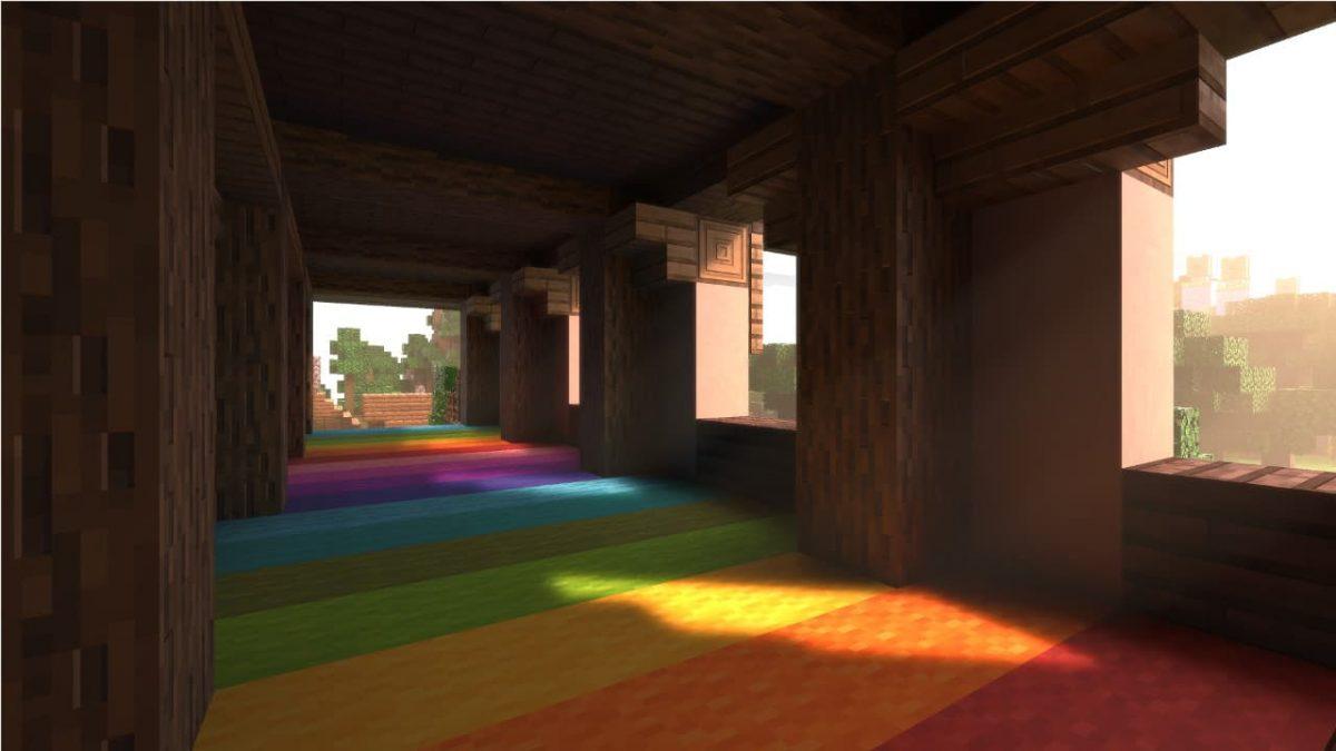 Rendu de la laine et du bois avec le Nvidia RTX ray tracing activé dans Minecraft