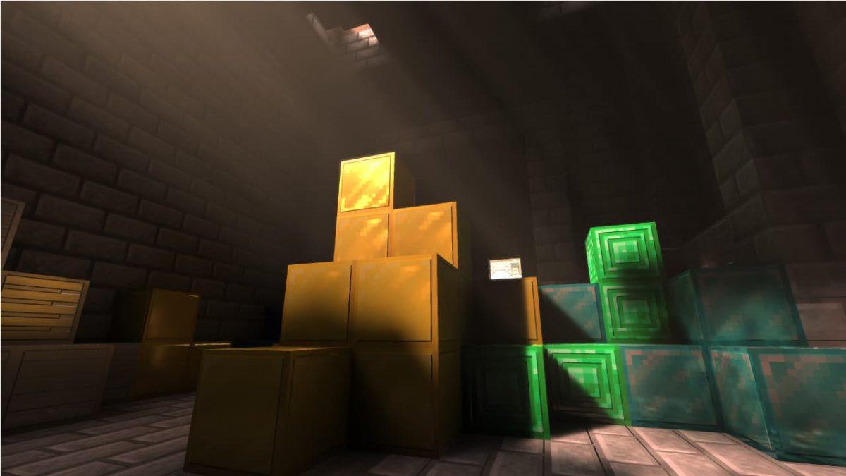 Rendu de l'or avec le Nvidia RTX ray tracing activé dans Minecraft