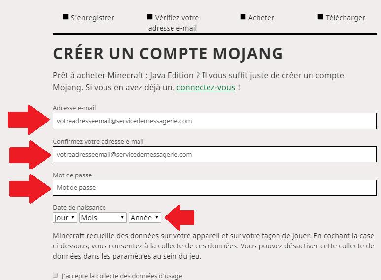 Créer compte mojang sur minecraft.fr