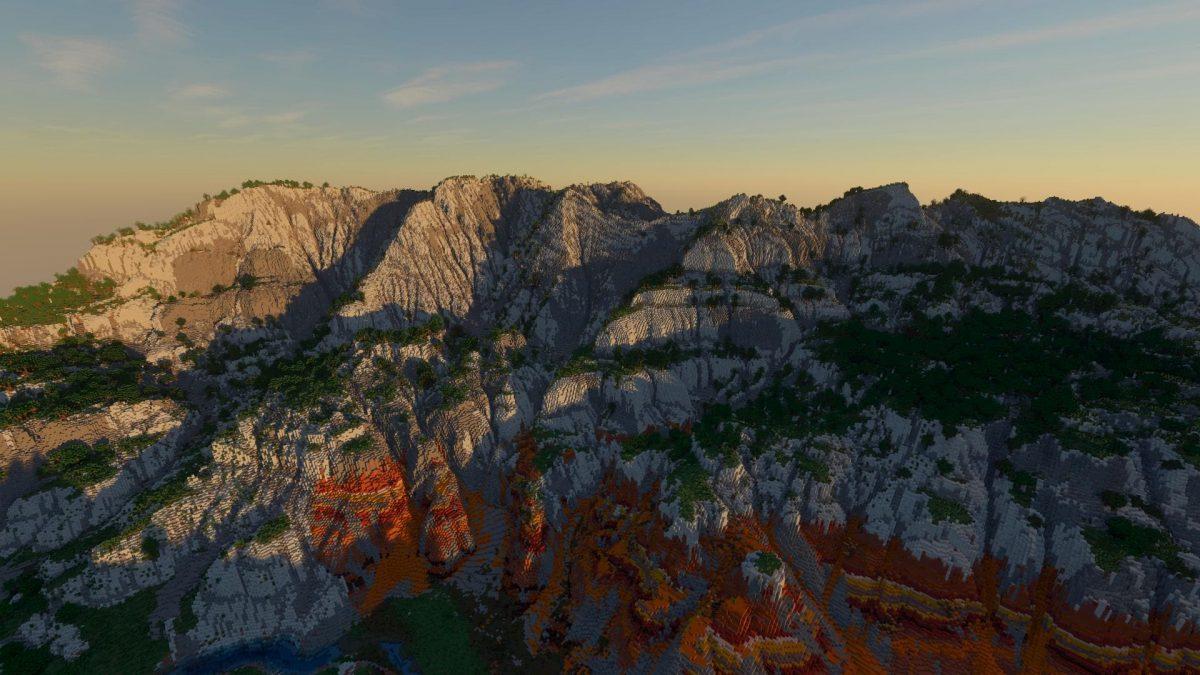 Continuum Shaderspack Minecraft : Une montagne
