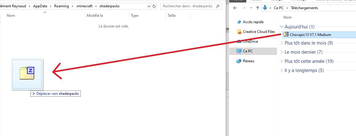deplacer archive zip shader