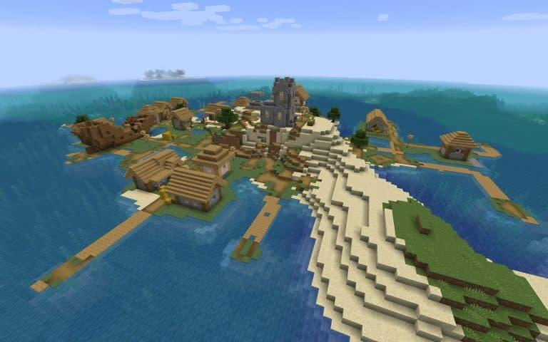 Meilleur Seed Minecraft 1.14 : bateau village ile