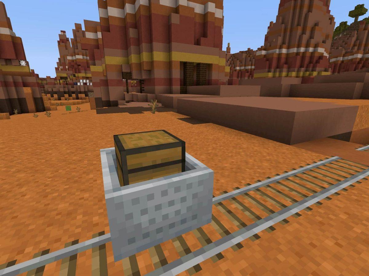 Seed et Graines pour Minecraft Bedrock 1.12 : Badlands ravin wagon avec coffre