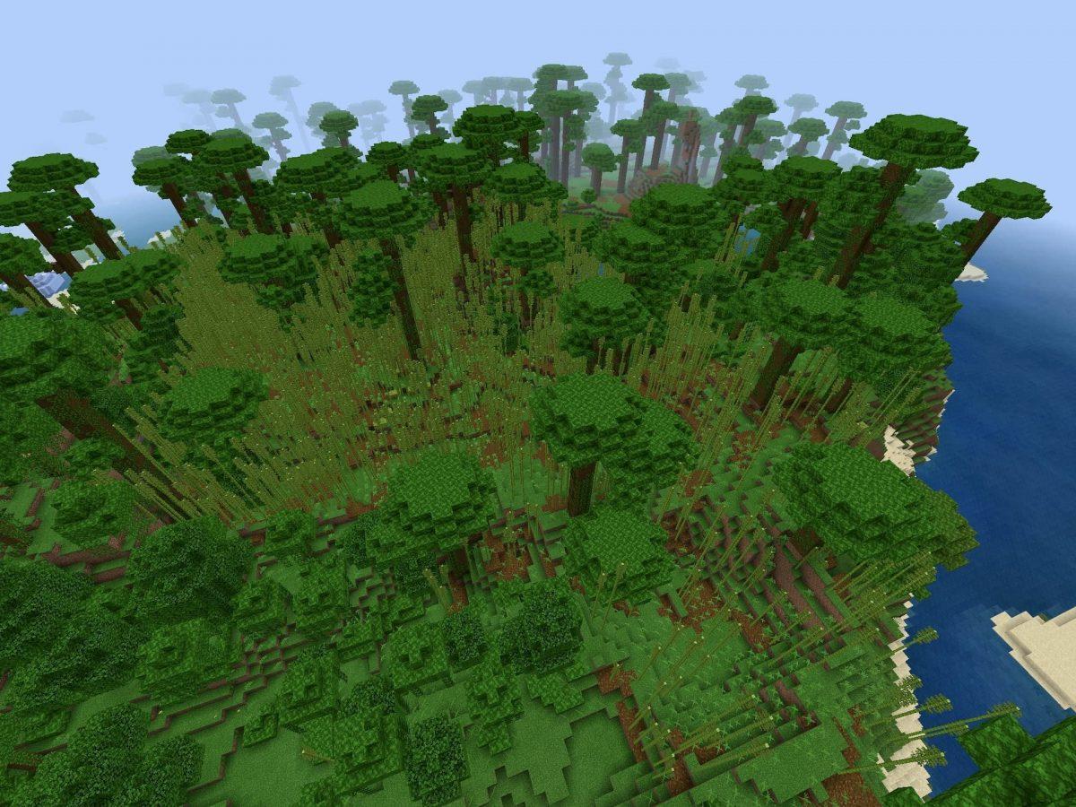 Seed et Graines pour Minecraft Bedrock 1.12 : Colline jungle bambou