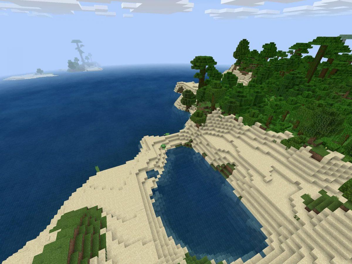 Seed et Graines pour Minecraft Bedrock 1.12 : Colline jungle bambou océan