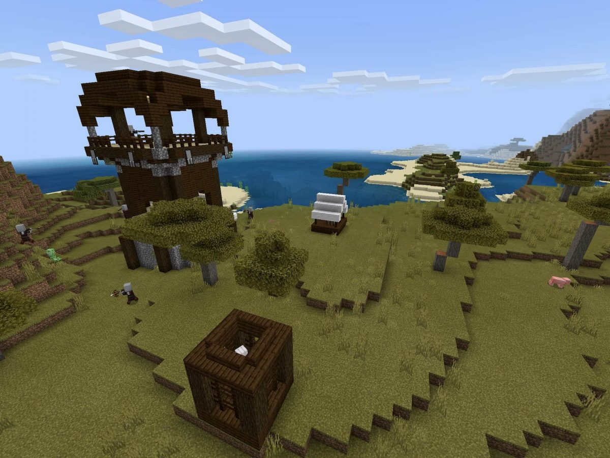 Seed et Graines pour Minecraft Bedrock 1.12 : Pillards désert village ravin