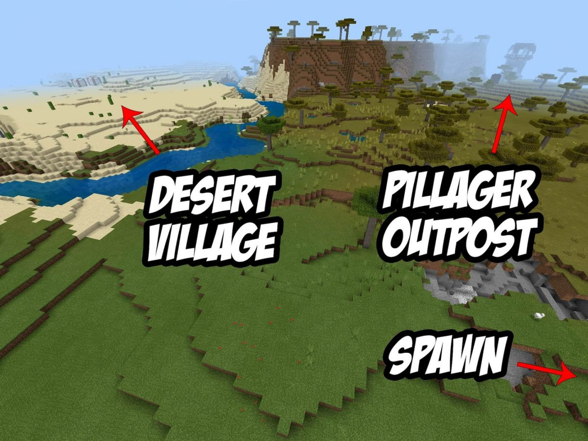 Seed et Graines pour Minecraft Bedrock 1.12 : Pillards désert village ravin carte