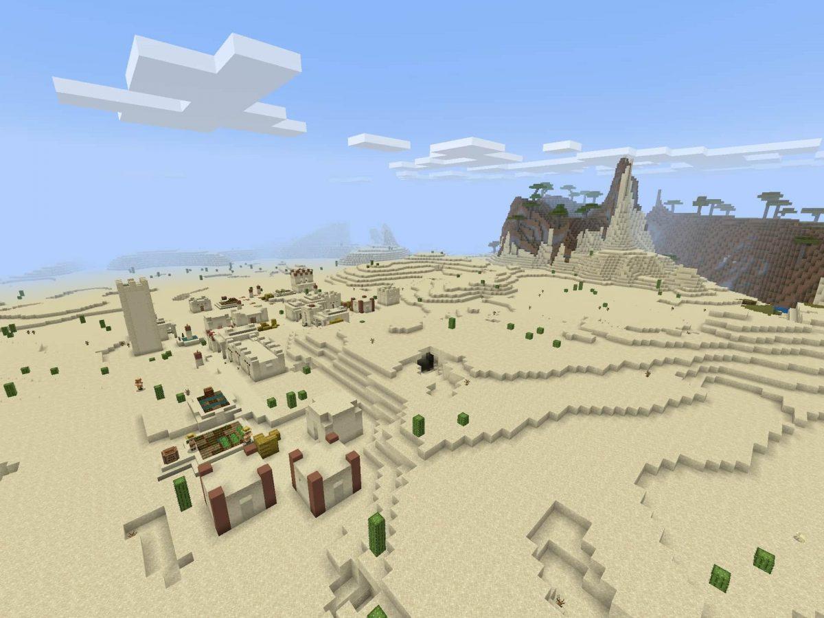 Seed et Graines pour Minecraft Bedrock 1.12 : Pillards désert village ravin villageois