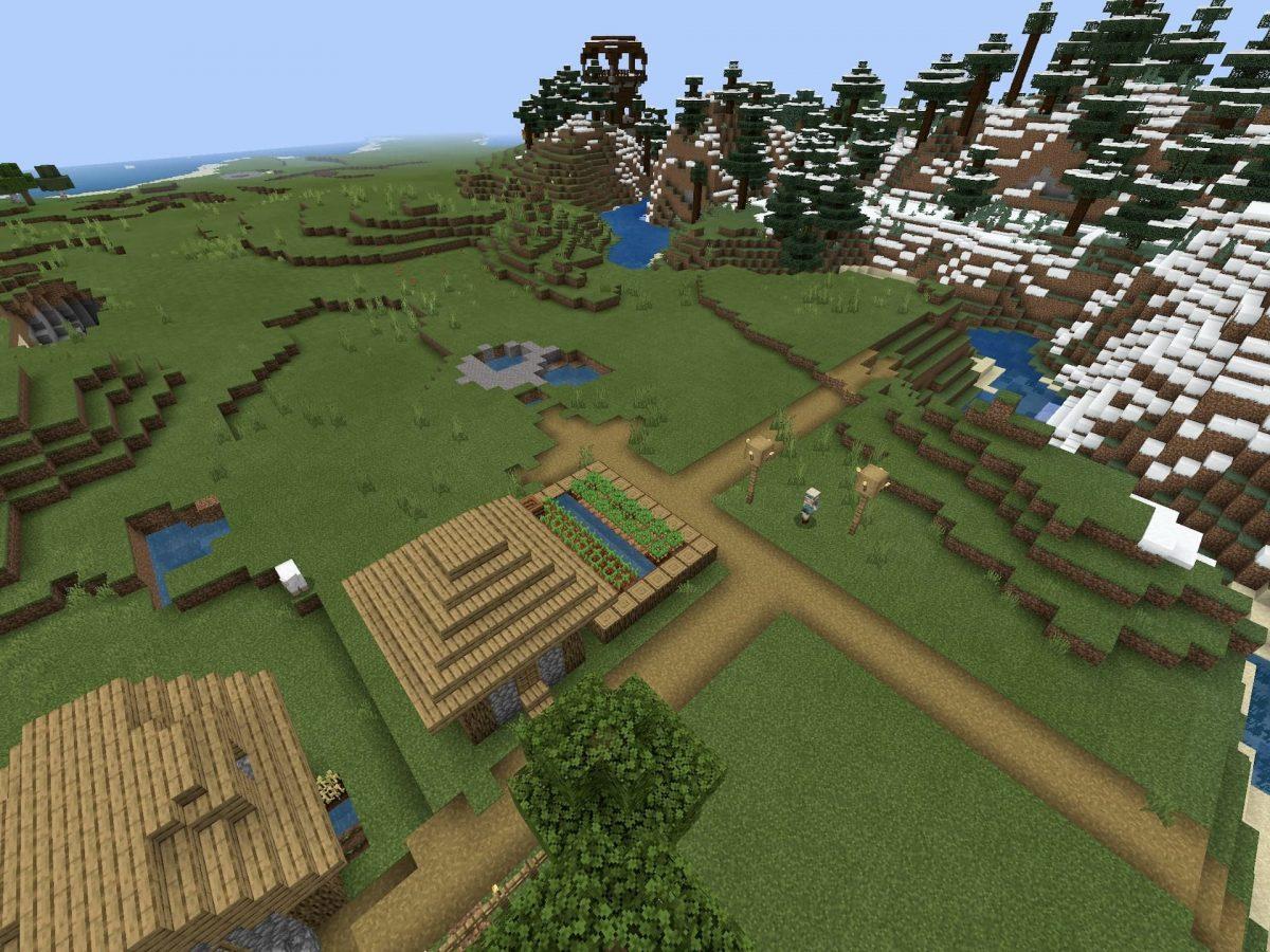 Seed et Graines pour Minecraft Bedrock 1.12 : Pillards et neige village proche avant-poste