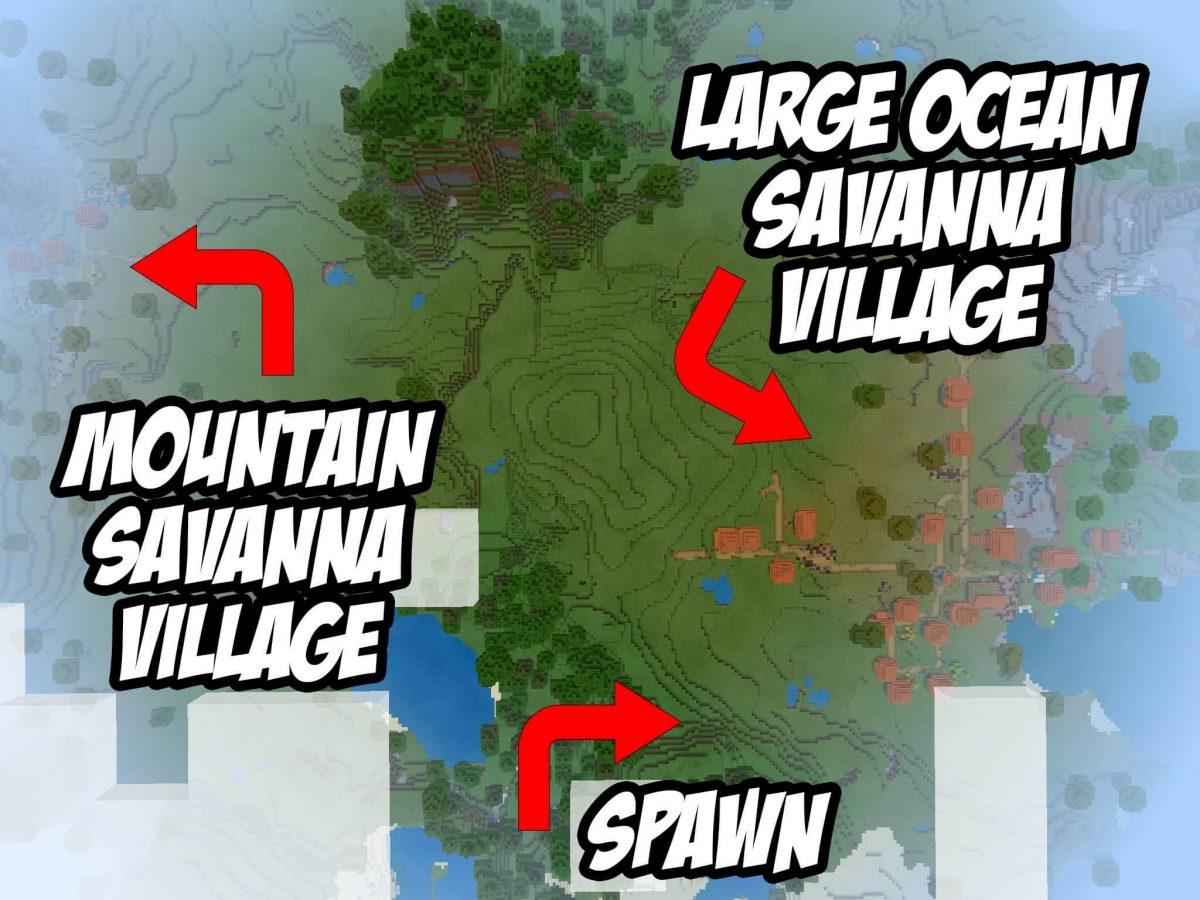 Seed et Graines pour Minecraft Bedrock 1.12 : Plaine savane carte