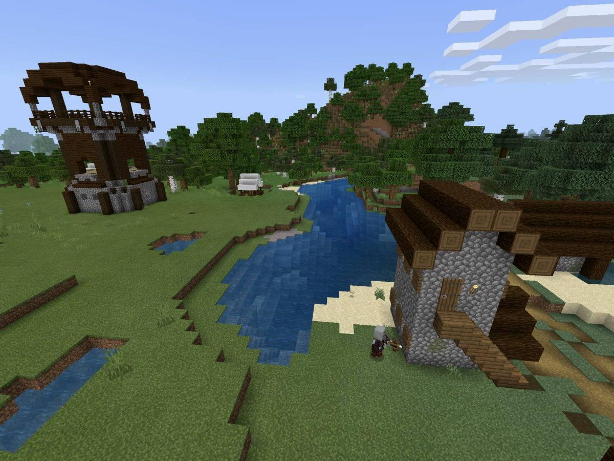Seed et Graines pour Minecraft Bedrock 1.12 : Village proche de pillards rivière