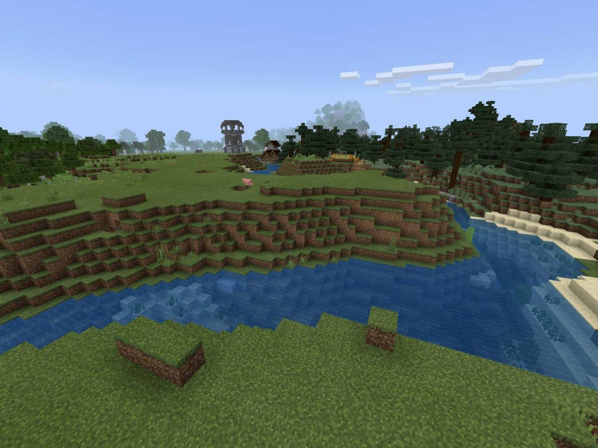 Seed et Graines pour Minecraft Bedrock 1.12 : Village proche de pillards grande rivière