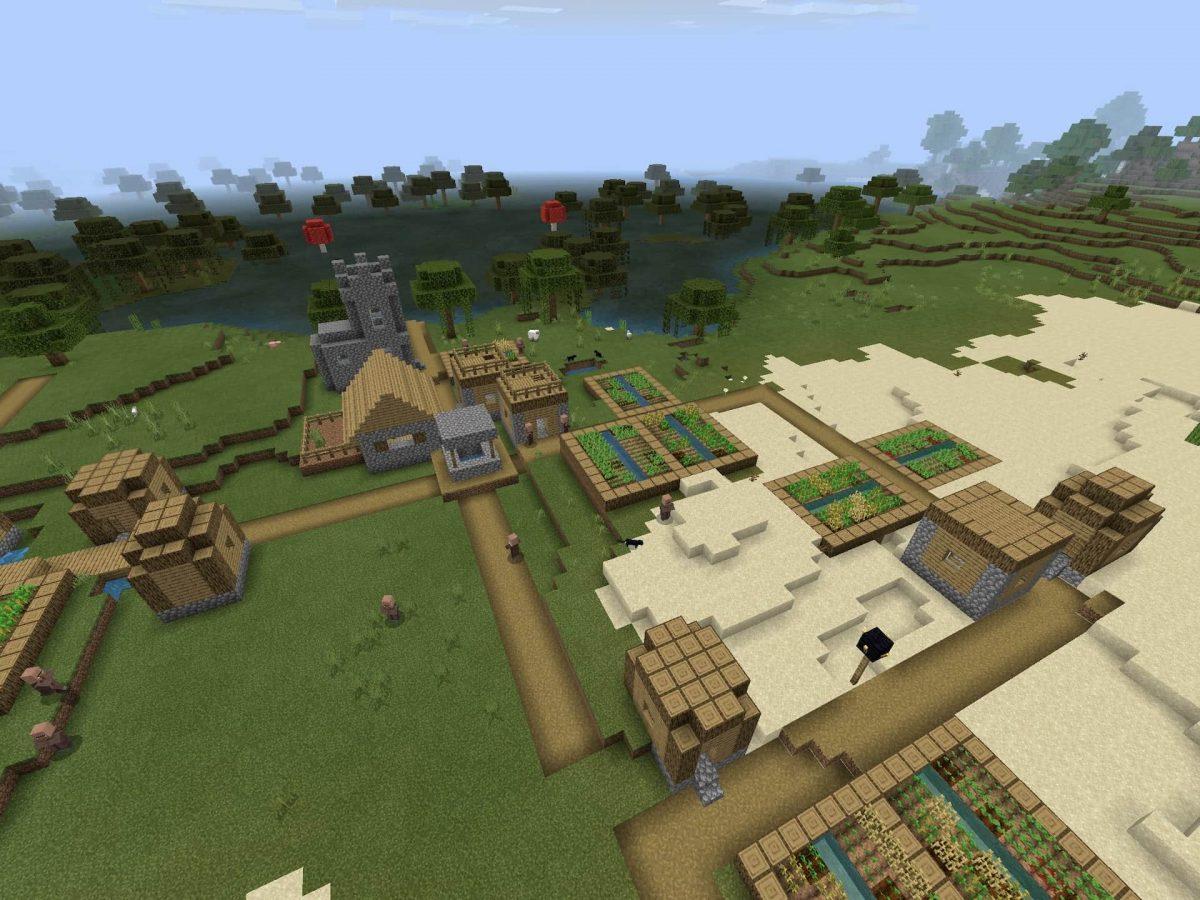 Seed et Graines pour Minecraft Bedrock 1.12 : Village au dessus fort