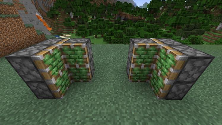 Porte cachée avec des pistons dans Minecraft étape 1