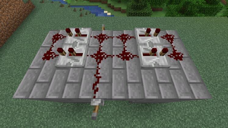Porte cachée avec des pistons dans Minecraft étape 4