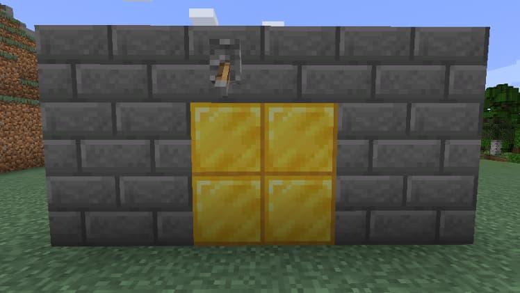 Porte cachée avec des pistons dans Minecraft étape 5